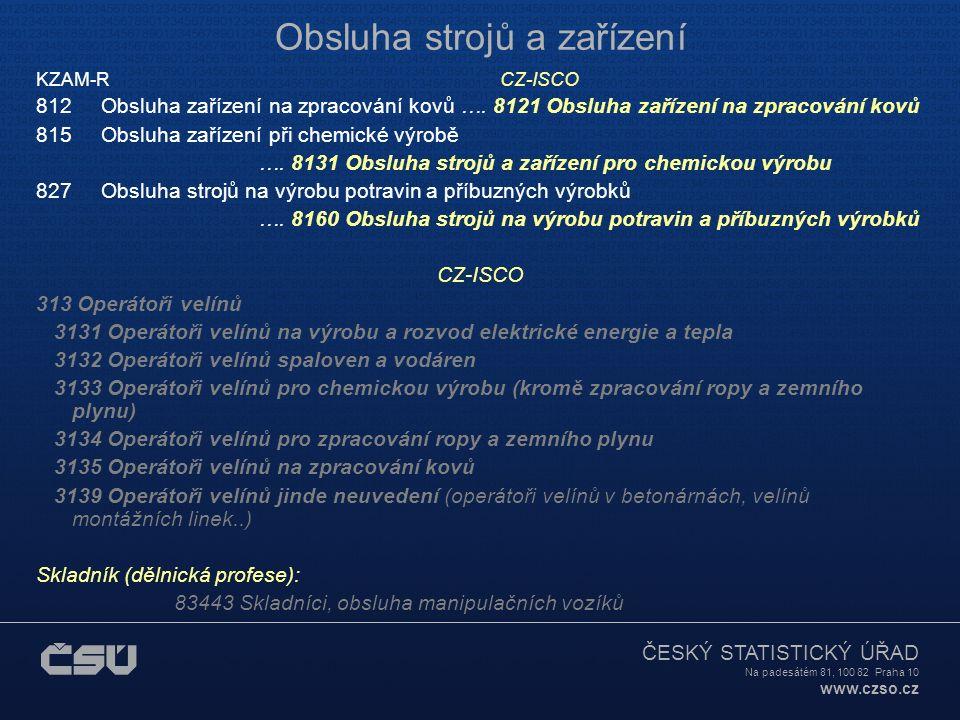 ČESKÝ STATISTICKÝ ÚŘAD Na padesátém 81, 100 82 Praha 10 www.czso.cz Obsluha strojů a zařízení KZAM-R CZ-ISCO 812 Obsluha zařízení na zpracování kovů ….