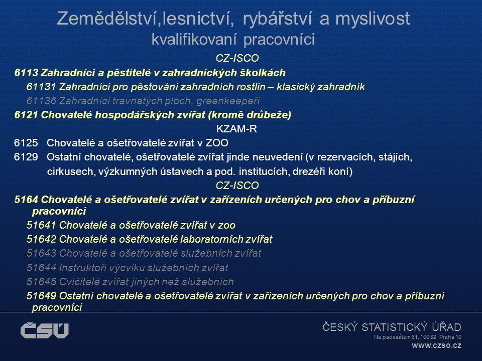ČESKÝ STATISTICKÝ ÚŘAD Na padesátém 81, 100 82 Praha 10 www.czso.cz Zemědělství,lesnictví, rybářství a myslivost kvalifikovaní pracovníci CZ-ISCO 6113