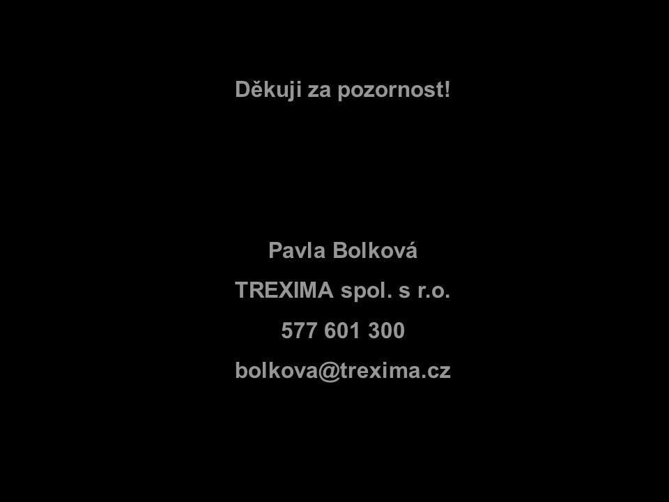 Děkuji za pozornost! Pavla Bolková TREXIMA spol. s r.o. 577 601 300 bolkova@trexima.cz