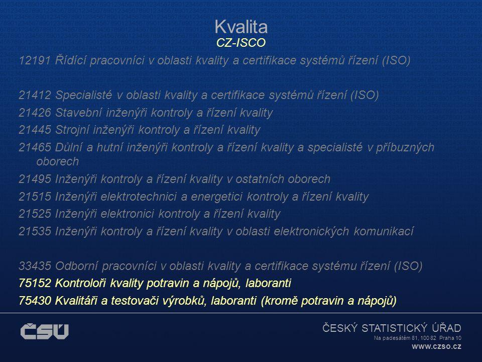 ČESKÝ STATISTICKÝ ÚŘAD Na padesátém 81, 100 82 Praha 10 www.czso.cz Kvalita CZ-ISCO 12191 Řídící pracovníci v oblasti kvality a certifikace systémů řízení (ISO) 21412 Specialisté v oblasti kvality a certifikace systémů řízení (ISO) 21426 Stavební inženýři kontroly a řízení kvality 21445 Strojní inženýři kontroly a řízení kvality 21465 Důlní a hutní inženýři kontroly a řízení kvality a specialisté v příbuzných oborech 21495 Inženýři kontroly a řízení kvality v ostatních oborech 21515 Inženýři elektrotechnici a energetici kontroly a řízení kvality 21525 Inženýři elektronici kontroly a řízení kvality 21535 Inženýři kontroly a řízení kvality v oblasti elektronických komunikací 33435 Odborní pracovníci v oblasti kvality a certifikace systému řízení (ISO) 75152 Kontroloři kvality potravin a nápojů, laboranti 75430 Kvalitáři a testovači výrobků, laboranti (kromě potravin a nápojů)