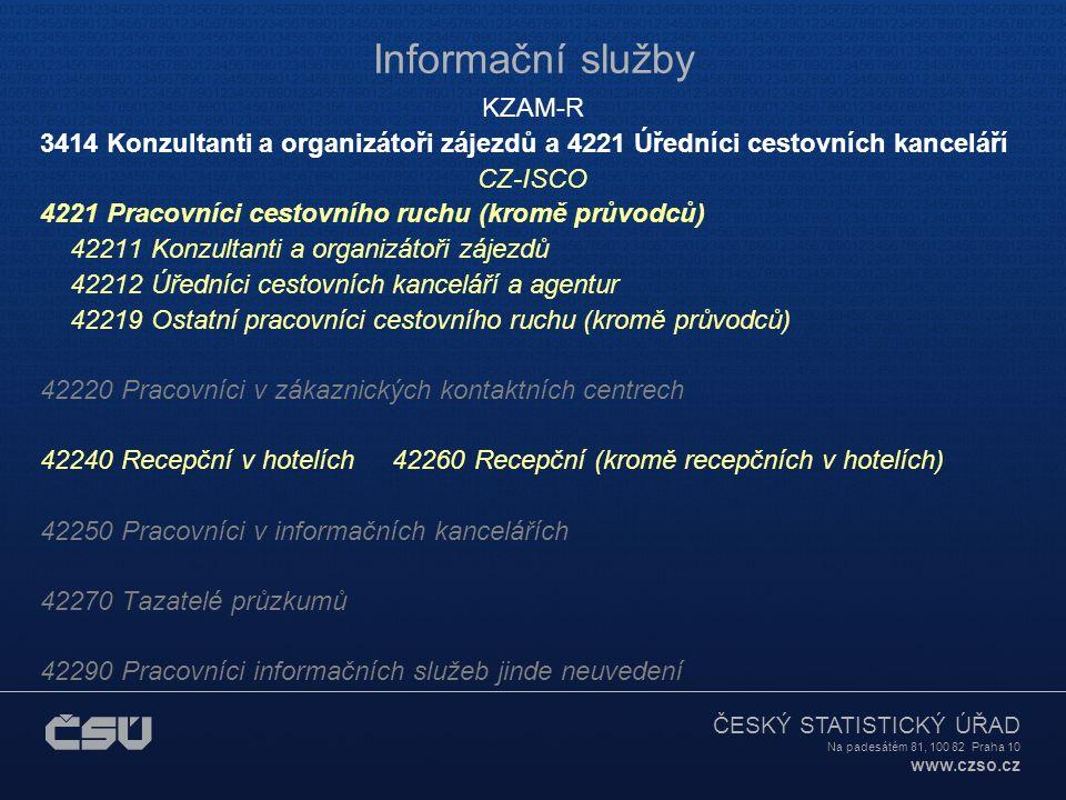 ČESKÝ STATISTICKÝ ÚŘAD Na padesátém 81, 100 82 Praha 10 www.czso.cz Informační služby KZAM-R 3414 Konzultanti a organizátoři zájezdů a 4221 Úředníci c