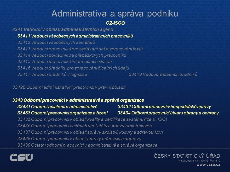 ČESKÝ STATISTICKÝ ÚŘAD Na padesátém 81, 100 82 Praha 10 www.czso.cz Administrativa a správa podniku CZ-ISCO 3341 Vedoucí v oblasti administrativních agend 33411 Vedoucí všeobecných administrativních pracovníků 33412 Vedoucí všeobecných sekretářů 33413 Vedoucí pracovníků pro zadávání dat a zpracování textů 33414 Vedoucí pokladníků a přepážkových pracovníků 33415 Vedoucí pracovníků informačních služeb 33416 Vedoucí úředníků pro zpracování číselných údajů 33417 Vedoucí úředníků v logistice 33419 Vedoucí ostatních úředníků 33420 Odborní administrativní pracovníci v právní oblasti 3343 Odborní pracovníci v administrativě a správě organizace 33431 Odborní asistenti v administrativě 33432 Odborní pracovníci hospodářské správy 33433 Odborní pracovníci organizace a řízení 33434 Odborní pracovníci útvaru obrany a ochrany 33435 Odborní pracovníci v oblasti kvality a certifikace systému řízení (ISO) 33436 Odborní pracovníci vnitřních věcí státu a konzulárních služeb 33437 Odborní pracovníci v oblasti správy školství, kultury a zdravotnictví 33438 Odborní pracovníci v oblasti správy průmyslu a dopravy 33439 Ostatní odborní pracovníci v administrativě a správě organizace