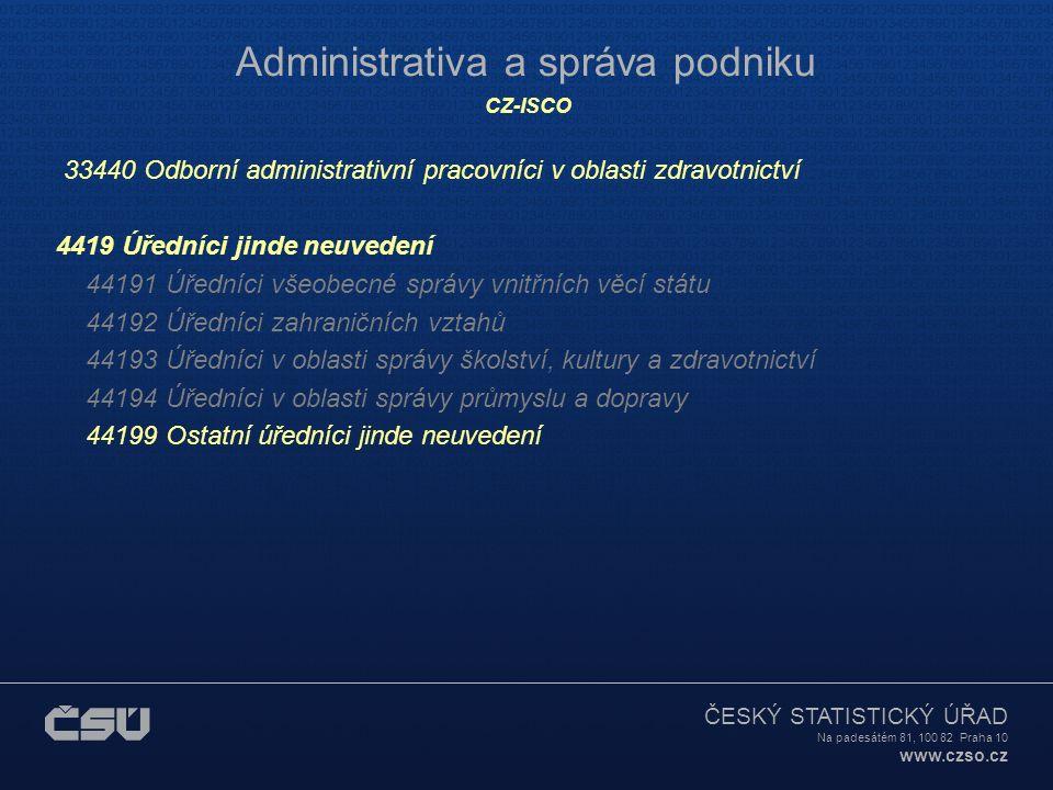 ČESKÝ STATISTICKÝ ÚŘAD Na padesátém 81, 100 82 Praha 10 www.czso.cz Administrativa a správa podniku CZ-ISCO 33440 Odborní administrativní pracovníci v