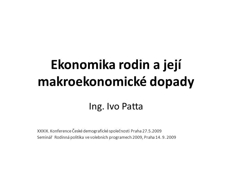 Ekonomika rodin a její makroekonomické dopady Ing. Ivo Patta XXXIX. Konference České demografické společnosti Praha 27.5.2009 Seminář Rodinná politika