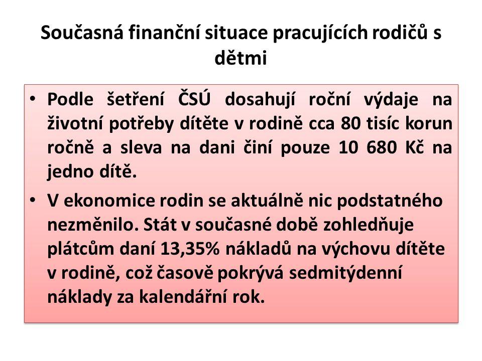 Současná finanční situace pracujících rodičů s dětmi Podle šetření ČSÚ dosahují roční výdaje na životní potřeby dítěte v rodině cca 80 tisíc korun ročně a sleva na dani činí pouze 10 680 Kč na jedno dítě.