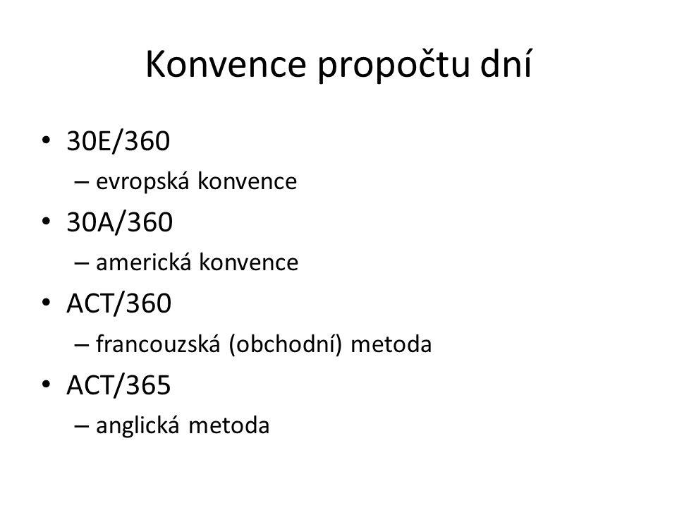Konvence propočtu dní 30E/360 – evropská konvence 30A/360 – americká konvence ACT/360 – francouzská (obchodní) metoda ACT/365 – anglická metoda