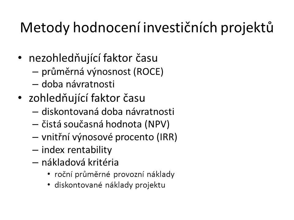 Metody hodnocení investičních projektů nezohledňující faktor času – průměrná výnosnost (ROCE) – doba návratnosti zohledňující faktor času – diskontovaná doba návratnosti – čistá současná hodnota (NPV) – vnitřní výnosové procento (IRR) – index rentability – nákladová kritéria roční průměrné provozní náklady diskontované náklady projektu