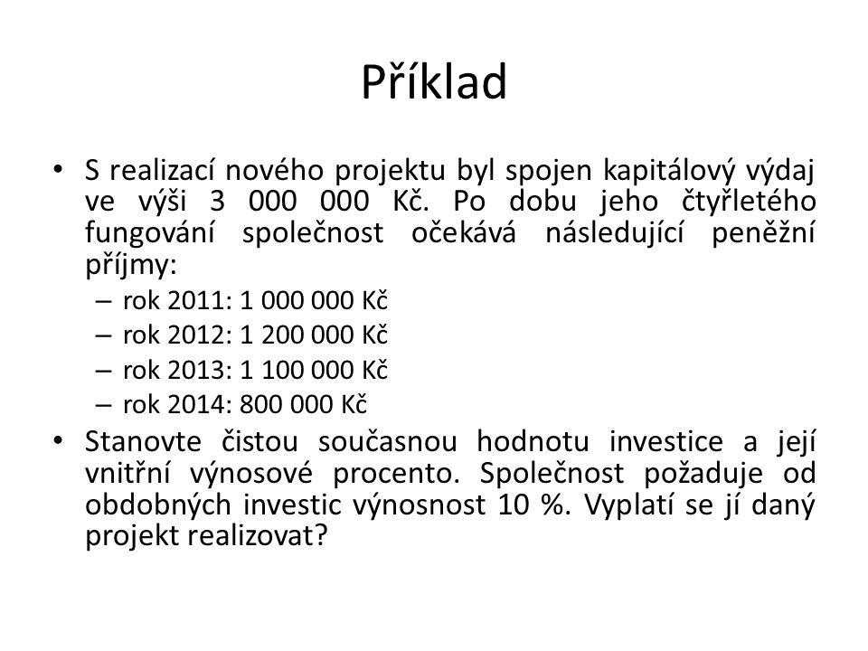 Příklad S realizací nového projektu byl spojen kapitálový výdaj ve výši 3 000 000 Kč. Po dobu jeho čtyřletého fungování společnost očekává následující