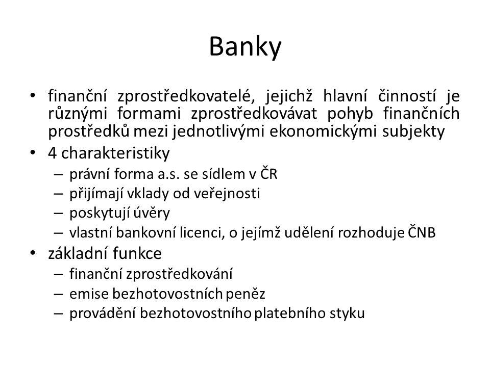 Banky finanční zprostředkovatelé, jejichž hlavní činností je různými formami zprostředkovávat pohyb finančních prostředků mezi jednotlivými ekonomickými subjekty 4 charakteristiky – právní forma a.s.