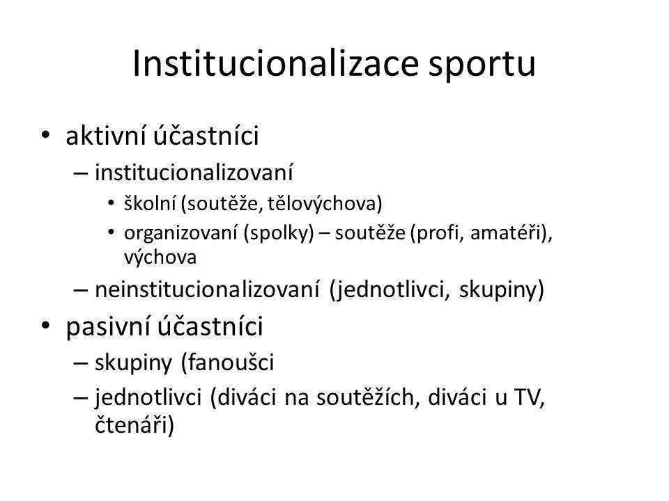 Institucionalizace sportu aktivní účastníci – institucionalizovaní školní (soutěže, tělovýchova) organizovaní (spolky) – soutěže (profi, amatéři), výchova – neinstitucionalizovaní (jednotlivci, skupiny) pasivní účastníci – skupiny (fanoušci – jednotlivci (diváci na soutěžích, diváci u TV, čtenáři)