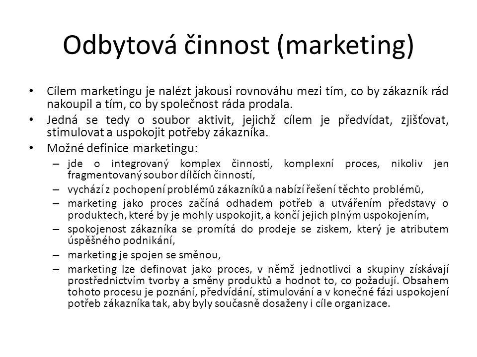 Odbytová činnost (marketing) Cílem marketingu je nalézt jakousi rovnováhu mezi tím, co by zákazník rád nakoupil a tím, co by společnost ráda prodala.
