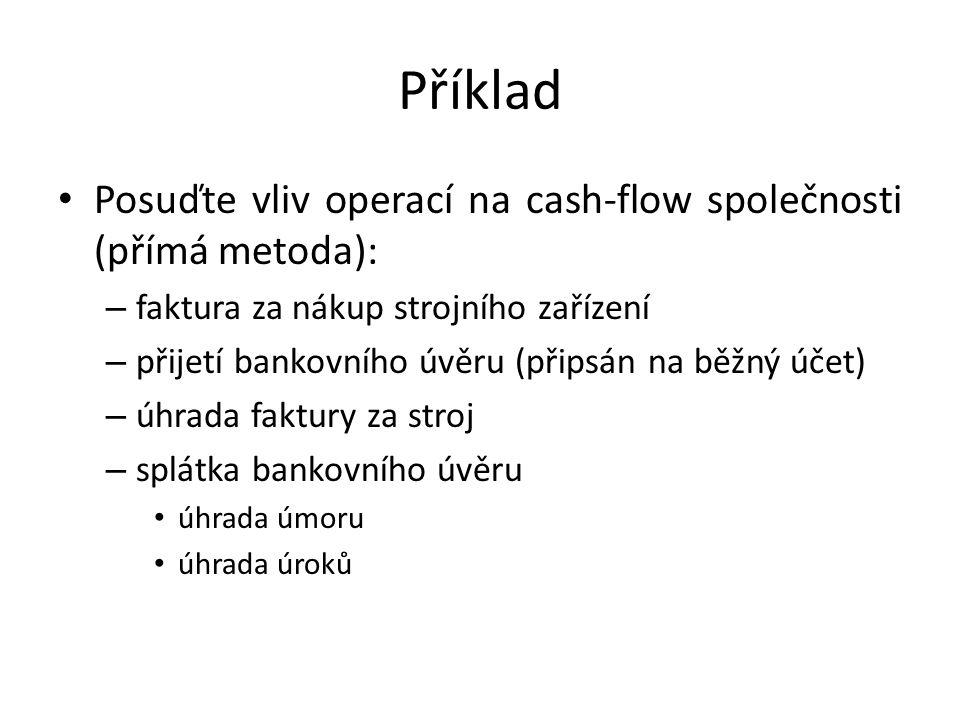 Příklad Posuďte vliv operací na cash-flow společnosti (přímá metoda): – faktura za nákup strojního zařízení – přijetí bankovního úvěru (připsán na běž