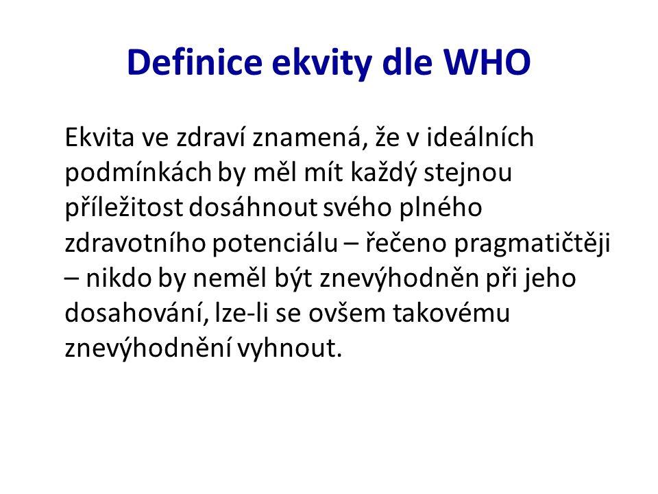 Definice ekvity dle WHO Ekvita ve zdraví znamená, že v ideálních podmínkách by měl mít každý stejnou příležitost dosáhnout svého plného zdravotního potenciálu – řečeno pragmatičtěji – nikdo by neměl být znevýhodněn při jeho dosahování, lze-li se ovšem takovému znevýhodnění vyhnout.
