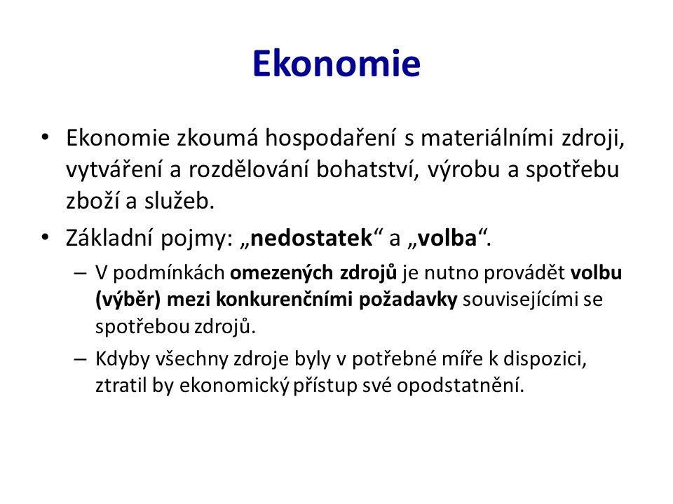 Ekonomie Ekonomie zkoumá hospodaření s materiálními zdroji, vytváření a rozdělování bohatství, výrobu a spotřebu zboží a služeb.