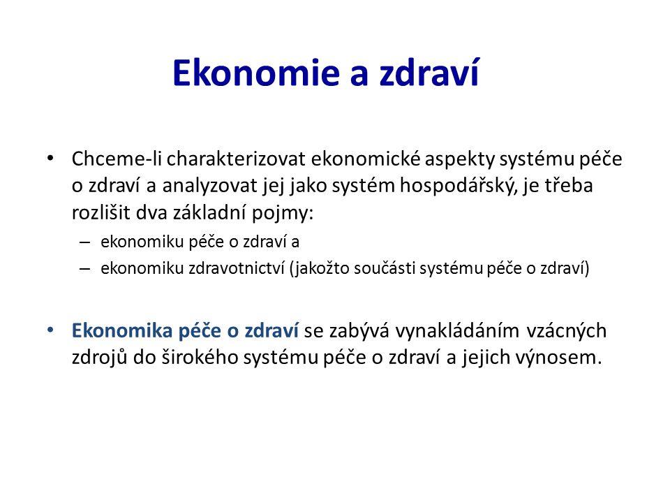 Ekonomie a zdraví Chceme-li charakterizovat ekonomické aspekty systému péče o zdraví a analyzovat jej jako systém hospodářský, je třeba rozlišit dva základní pojmy: – ekonomiku péče o zdraví a – ekonomiku zdravotnictví (jakožto součásti systému péče o zdraví) Ekonomika péče o zdraví se zabývá vynakládáním vzácných zdrojů do širokého systému péče o zdraví a jejich výnosem.