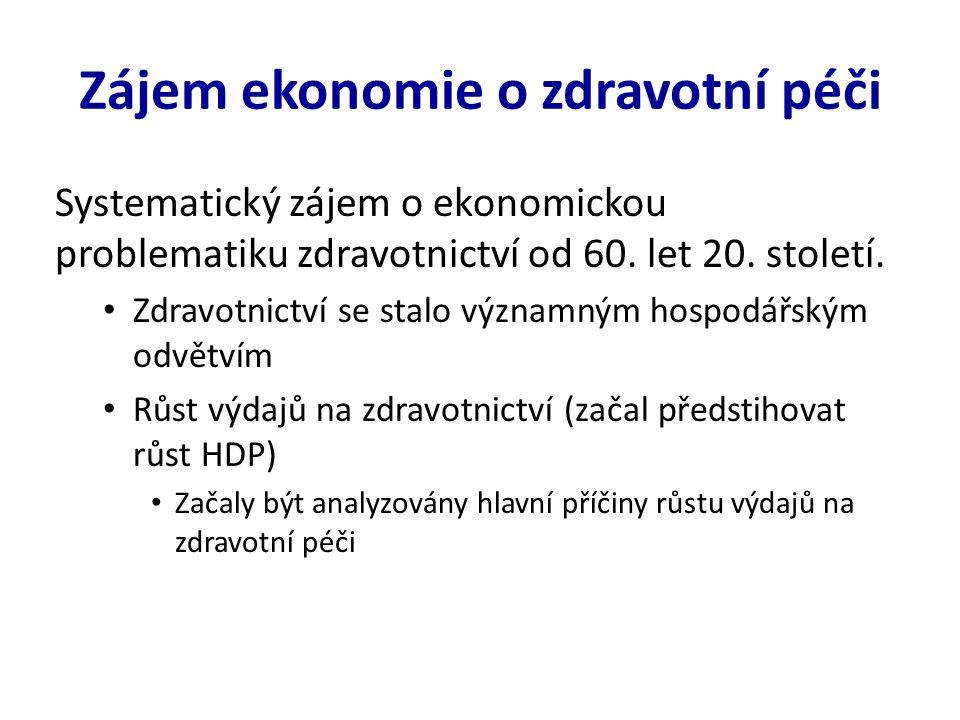 Zájem ekonomie o zdravotní péči Systematický zájem o ekonomickou problematiku zdravotnictví od 60.