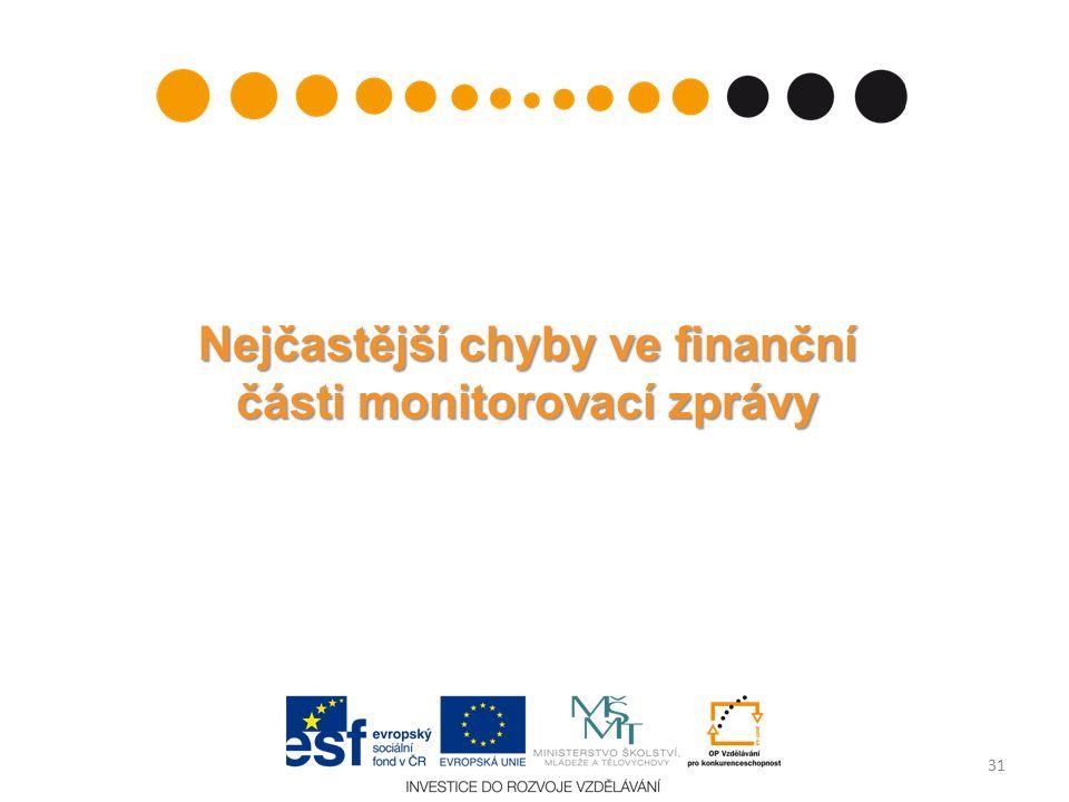 Nejčastější chyby ve finanční části monitorovací zprávy 31