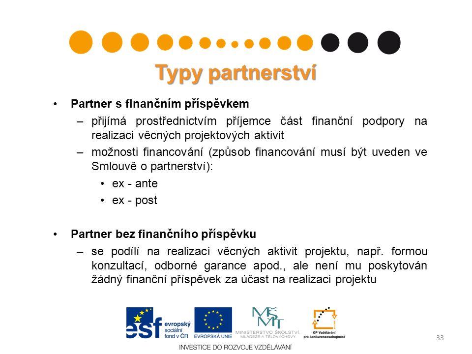 Typy partnerství Partner s finančním příspěvkem –přijímá prostřednictvím příjemce část finanční podpory na realizaci věcných projektových aktivit –možnosti financování (způsob financování musí být uveden ve Smlouvě o partnerství): ex - ante ex - post Partner bez finančního příspěvku –se podílí na realizaci věcných aktivit projektu, např.