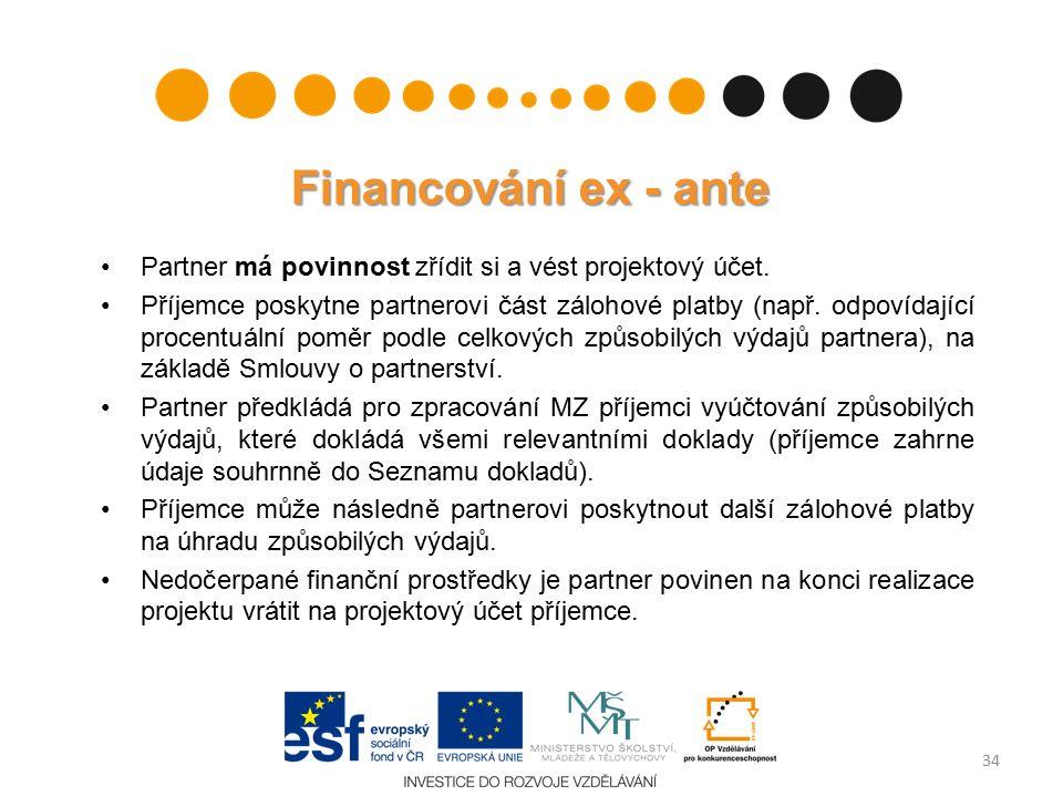 Financování ex - ante Partner má povinnost zřídit si a vést projektový účet.