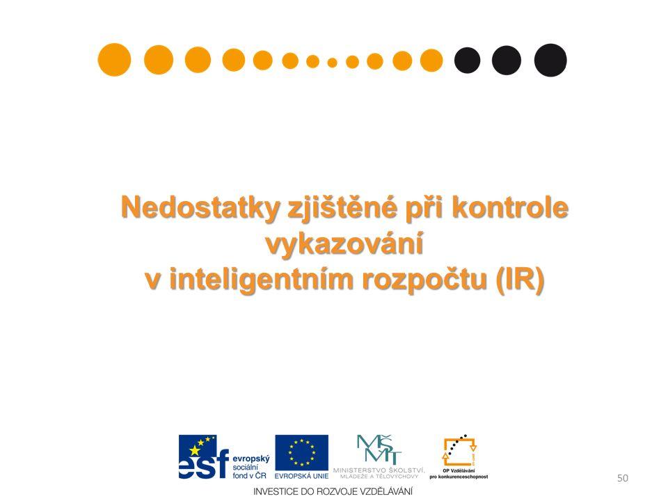 Nedostatky zjištěné při kontrole vykazování v inteligentním rozpočtu (IR) 50