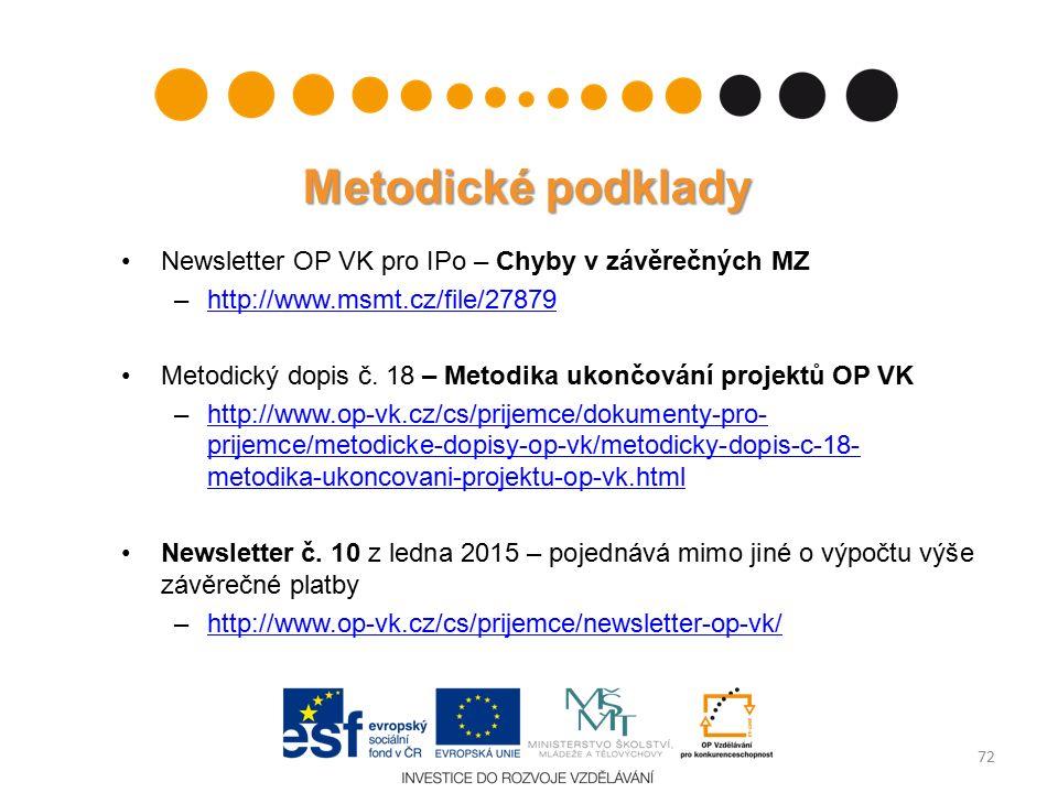 Metodické podklady Newsletter OP VK pro IPo – Chyby v závěrečných MZ –http://www.msmt.cz/file/27879http://www.msmt.cz/file/27879 Metodický dopis č.