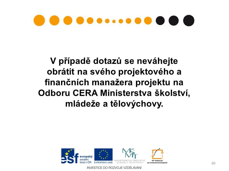 V případě dotazů se neváhejte obrátit na svého projektového a finančních manažera projektu na Odboru CERA Ministerstva školství, mládeže a tělovýchovy.