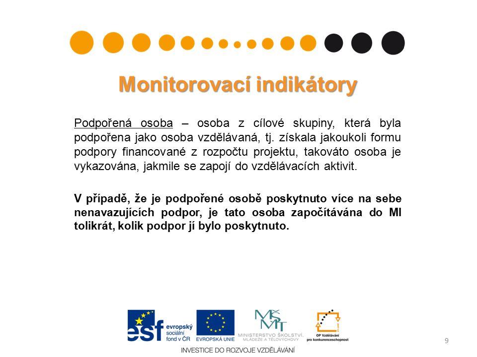 Monitorovací indikátory Podpořená osoba – osoba z cílové skupiny, která byla podpořena jako osoba vzdělávaná, tj.