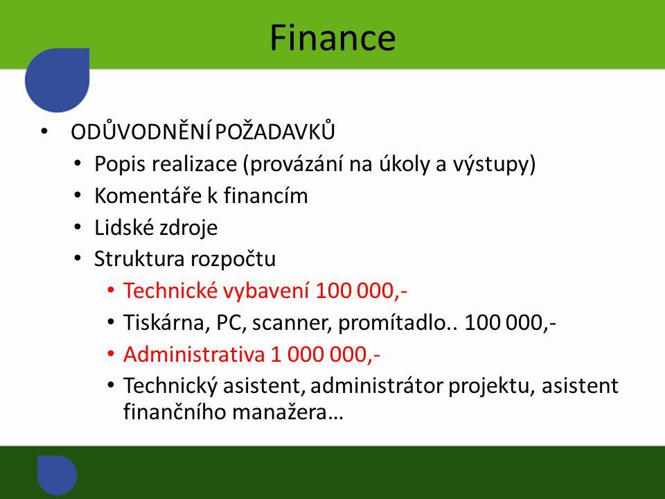 Finance ODŮVODNĚNÍ POŽADAVKŮ Popis realizace (provázání na úkoly a výstupy) Komentáře k financím Lidské zdroje Struktura rozpočtu Technické vybavení 100 000,- Tiskárna, PC, scanner, promítadlo..