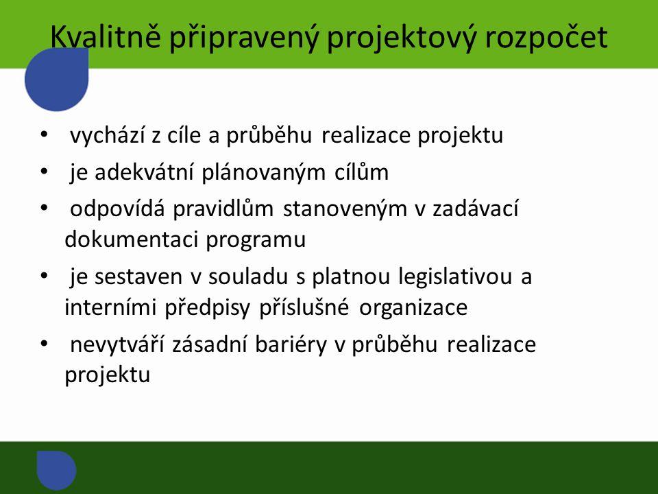 Kvalitně připravený projektový rozpočet vychází z cíle a průběhu realizace projektu je adekvátní plánovaným cílům odpovídá pravidlům stanoveným v zadávací dokumentaci programu je sestaven v souladu s platnou legislativou a interními předpisy příslušné organizace nevytváří zásadní bariéry v průběhu realizace projektu