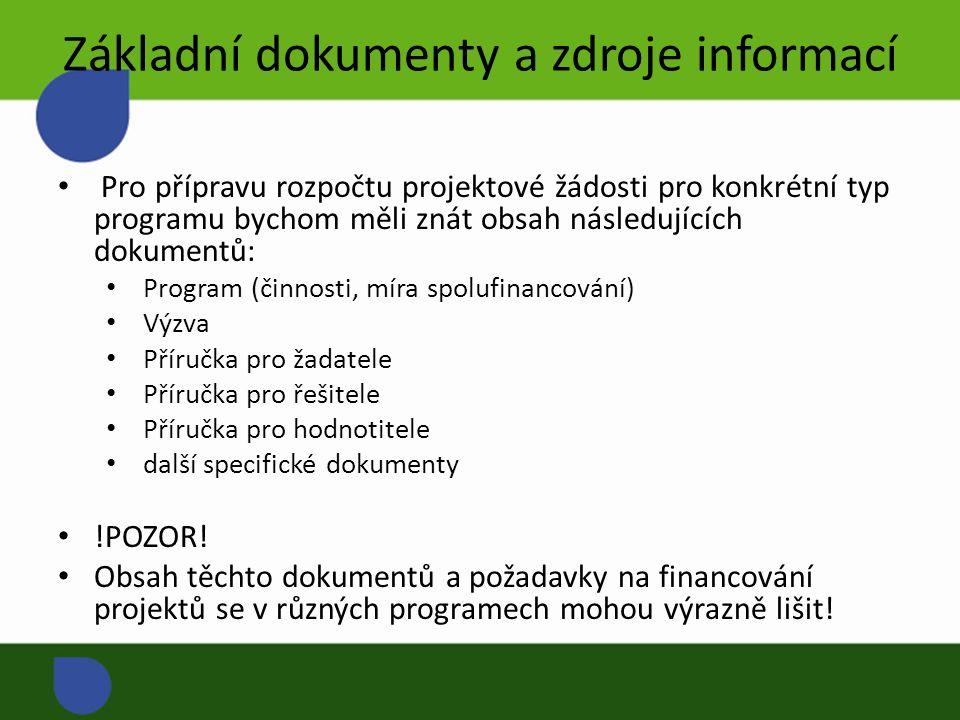 Základní dokumenty a zdroje informací Pro přípravu rozpočtu projektové žádosti pro konkrétní typ programu bychom měli znát obsah následujících dokumentů: Program (činnosti, míra spolufinancování) Výzva Příručka pro žadatele Příručka pro řešitele Příručka pro hodnotitele další specifické dokumenty !POZOR.
