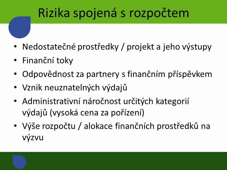Rizika spojená s rozpočtem Nedostatečné prostředky / projekt a jeho výstupy Finanční toky Odpovědnost za partnery s finančním příspěvkem Vznik neuznatelných výdajů Administrativní náročnost určitých kategorií výdajů (vysoká cena za pořízení) Výše rozpočtu / alokace finančních prostředků na výzvu