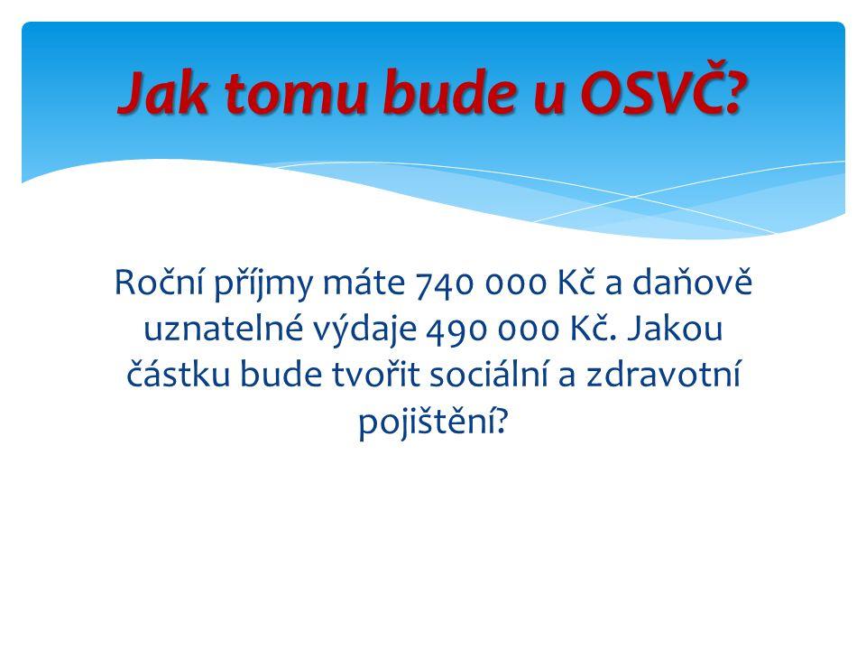 Roční příjmy máte 740 000 Kč a daňově uznatelné výdaje 490 000 Kč.