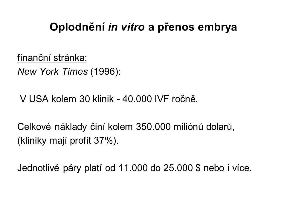 Oplodnění in vitro a přenos embrya finanční stránka: New York Times (1996): V USA kolem 30 klinik - 40.000 IVF ročně.
