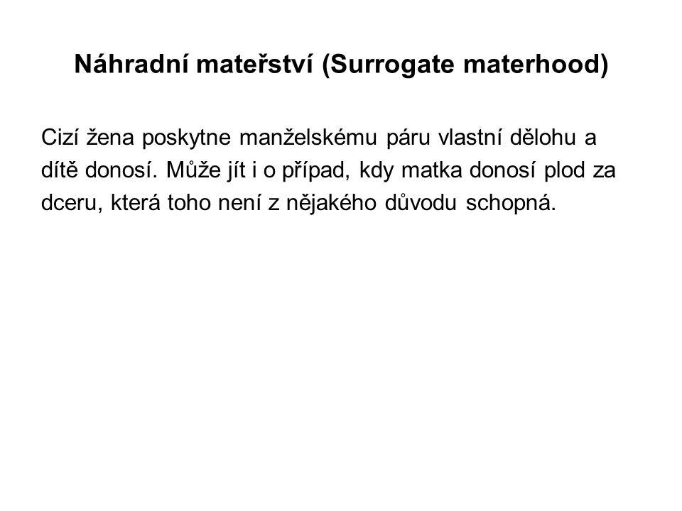 Náhradní mateřství (Surrogate materhood) Cizí žena poskytne manželskému páru vlastní dělohu a dítě donosí.
