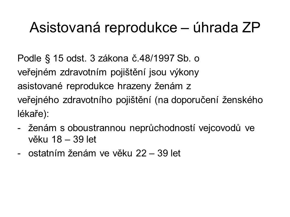 Asistovaná reprodukce – úhrada ZP Podle § 15 odst.