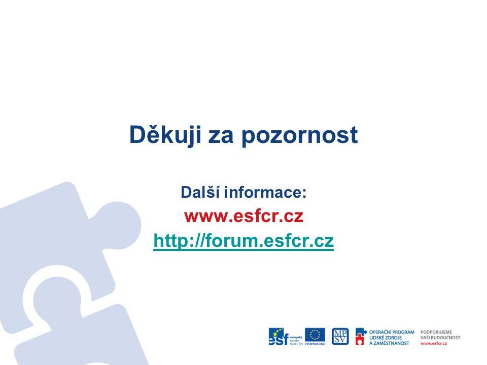 Děkuji za pozornost Další informace: www.esfcr.cz http://forum.esfcr.cz