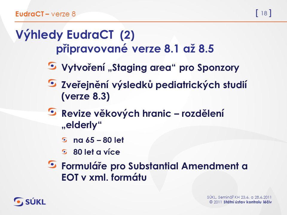 """[ 18 ] SÚKL, Seminář KH 23.6. a 28.6.2011 © 2011 Státní ústav kontrolu léčiv Výhledy EudraCT (2) připravované verze 8.1 až 8.5 Vytvoření """"Staging area"""