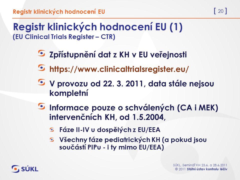 [ 20 ] SÚKL, Seminář KH 23.6. a 28.6.2011 © 2011 Státní ústav kontrolu léčiv Registr klinických hodnocení EU (1) (EU Clinical Trials Register – CTR) Z