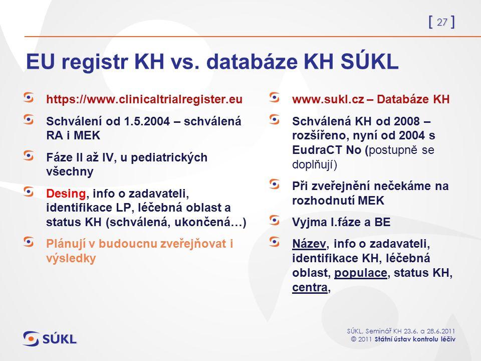 [ 27 ] SÚKL, Seminář KH 23.6. a 28.6.2011 © 2011 Státní ústav kontrolu léčiv EU registr KH vs. databáze KH SÚKL https://www.clinicaltrialregister.eu S