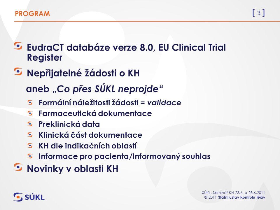 [ 3 ] SÚKL, Seminář KH 23.6. a 28.6.2011 © 2011 Státní ústav kontrolu léčiv EudraCT databáze verze 8.0, EU Clinical Trial Register Nepřijatelné žádost