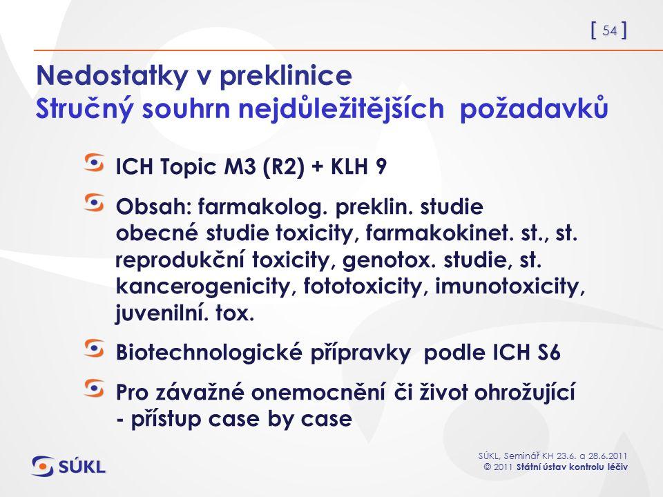 [ 54 ] SÚKL, Seminář KH 23.6. a 28.6.2011 © 2011 Státní ústav kontrolu léčiv Nedostatky v preklinice Stručný souhrn nejdůležitějších požadavků ICH Top