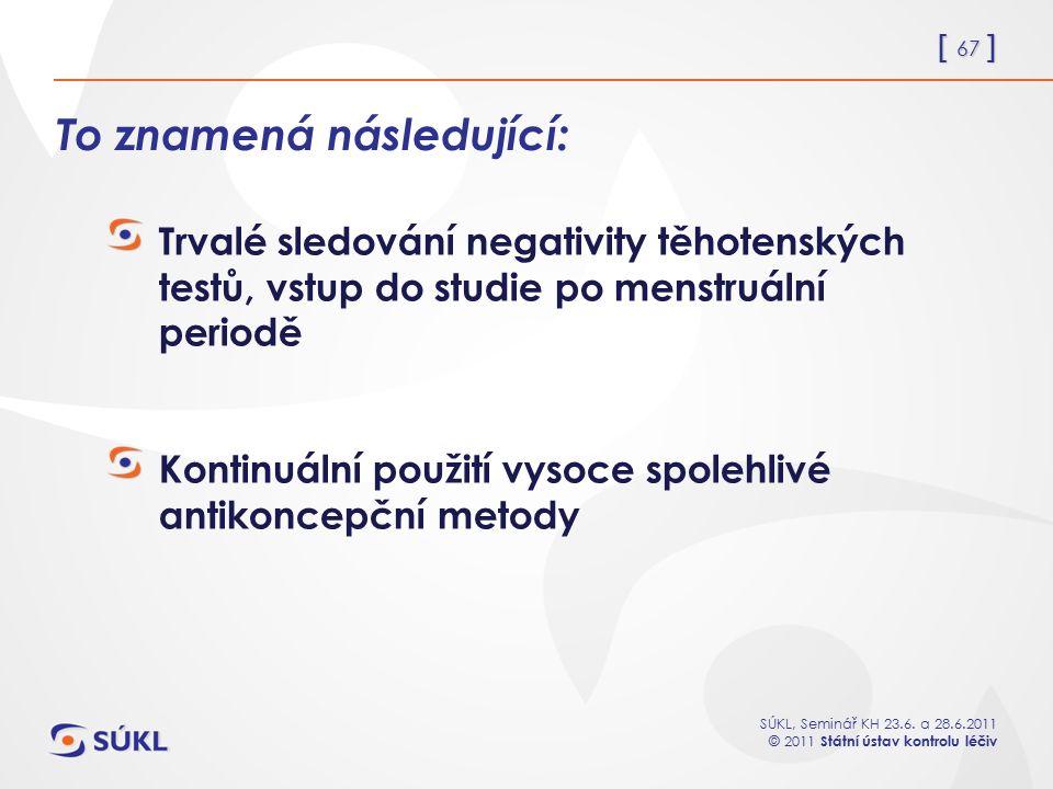 [ 67 ] SÚKL, Seminář KH 23.6. a 28.6.2011 © 2011 Státní ústav kontrolu léčiv To znamená následující: Trvalé sledování negativity těhotenských testů, v