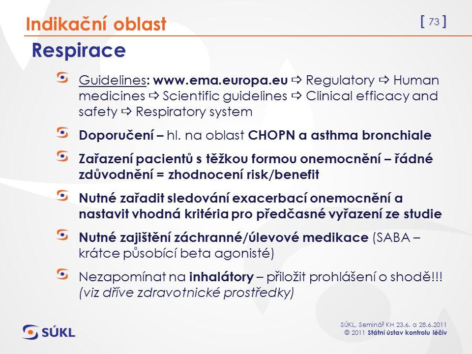 [ 73 ] SÚKL, Seminář KH 23.6. a 28.6.2011 © 2011 Státní ústav kontrolu léčiv Respirace Guidelines : www.ema.europa.eu  Regulatory  Human medicines 