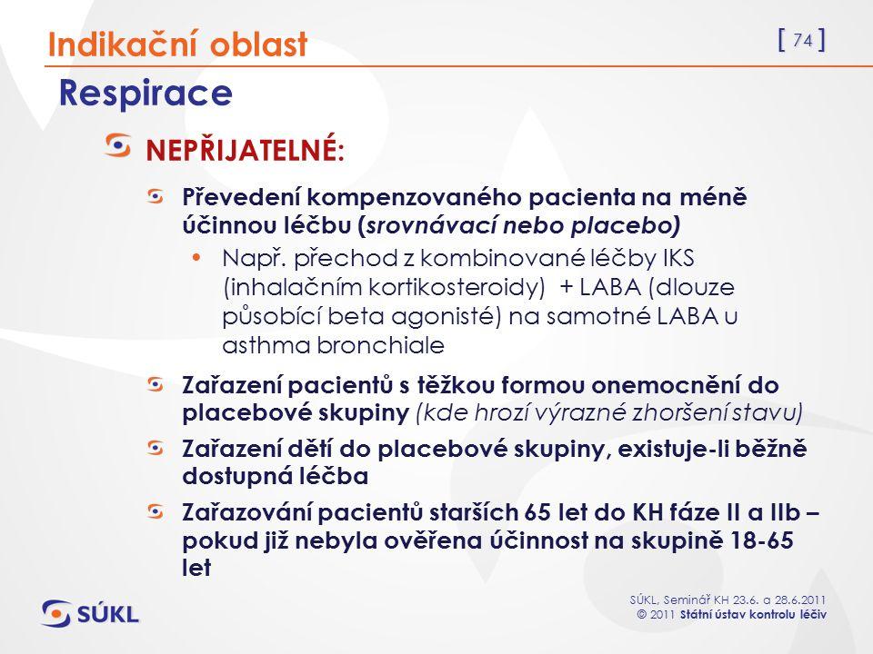 [ 74 ] SÚKL, Seminář KH 23.6. a 28.6.2011 © 2011 Státní ústav kontrolu léčiv Respirace NEPŘIJATELNÉ: Převedení kompenzovaného pacienta na méně účinnou