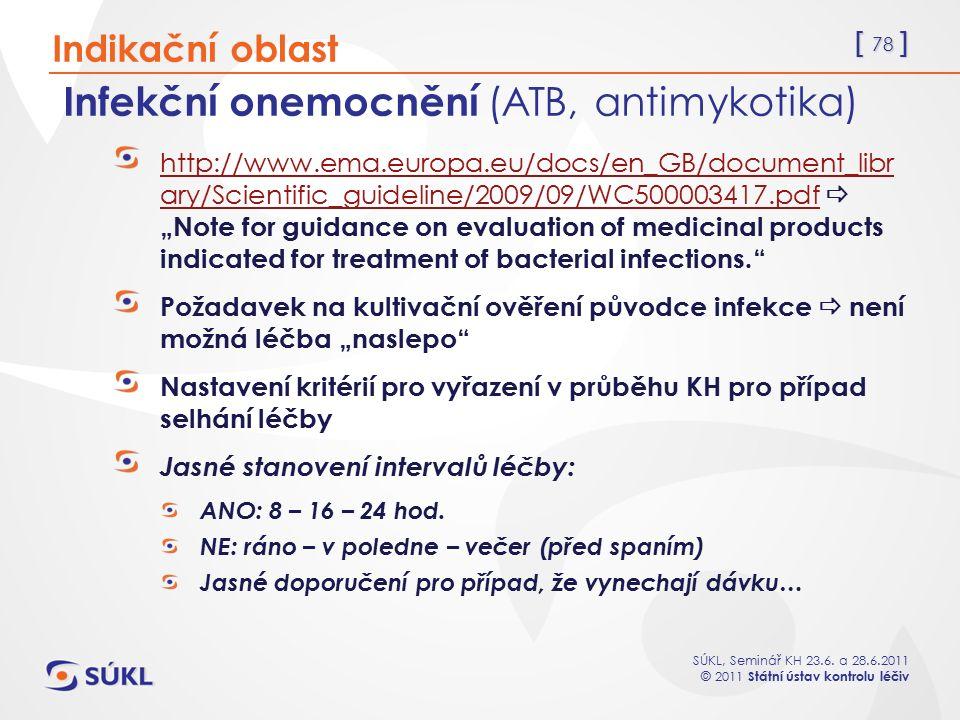 [ 78 ] SÚKL, Seminář KH 23.6. a 28.6.2011 © 2011 Státní ústav kontrolu léčiv Infekční onemocnění (ATB, antimykotika) http://www.ema.europa.eu/docs/en_