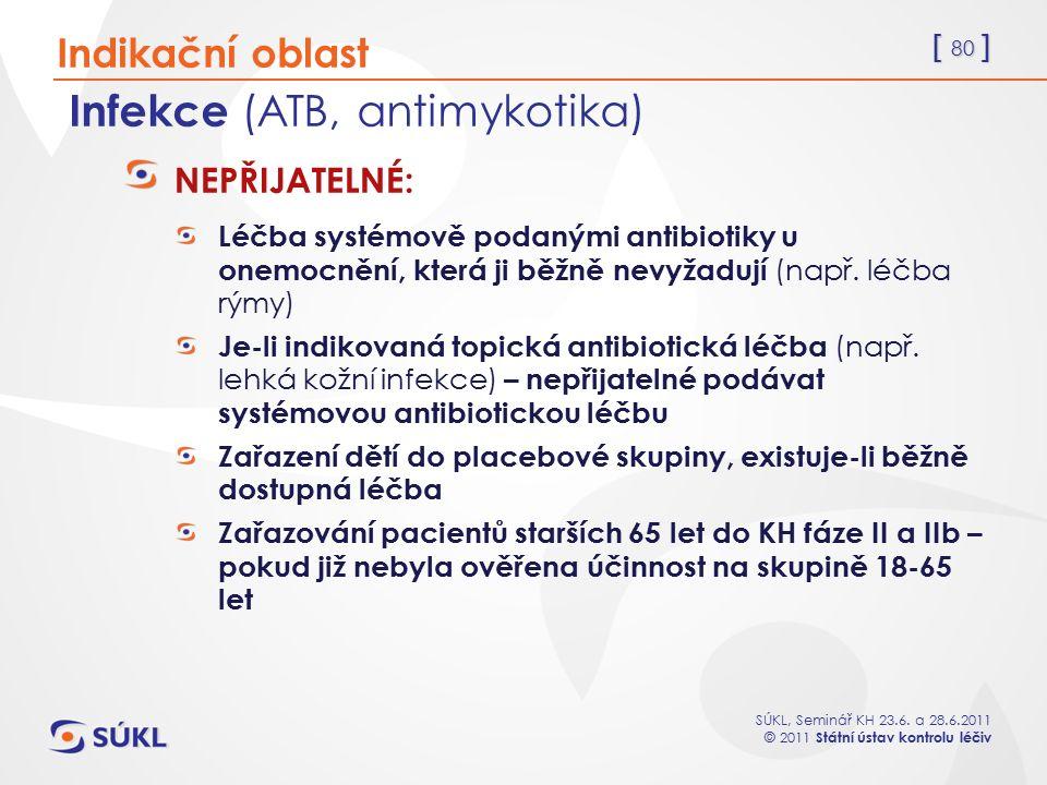 [ 80 ] SÚKL, Seminář KH 23.6. a 28.6.2011 © 2011 Státní ústav kontrolu léčiv Infekce (ATB, antimykotika) NEPŘIJATELNÉ: Léčba systémově podanými antibi
