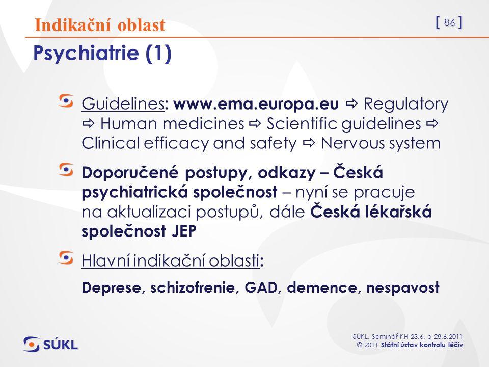 [ 86 ] SÚKL, Seminář KH 23.6. a 28.6.2011 © 2011 Státní ústav kontrolu léčiv Psychiatrie (1) Guidelines : www.ema.europa.eu  Regulatory  Human medic