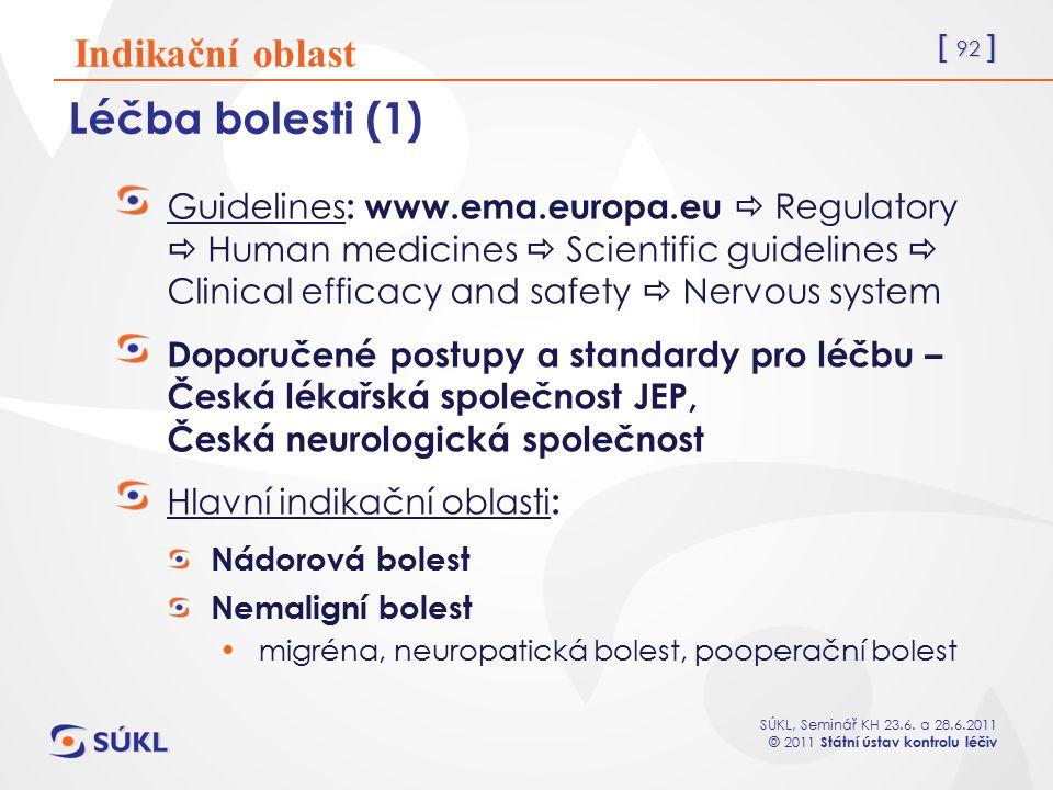 [ 92 ] SÚKL, Seminář KH 23.6. a 28.6.2011 © 2011 Státní ústav kontrolu léčiv Léčba bolesti (1) Guidelines : www.ema.europa.eu  Regulatory  Human med