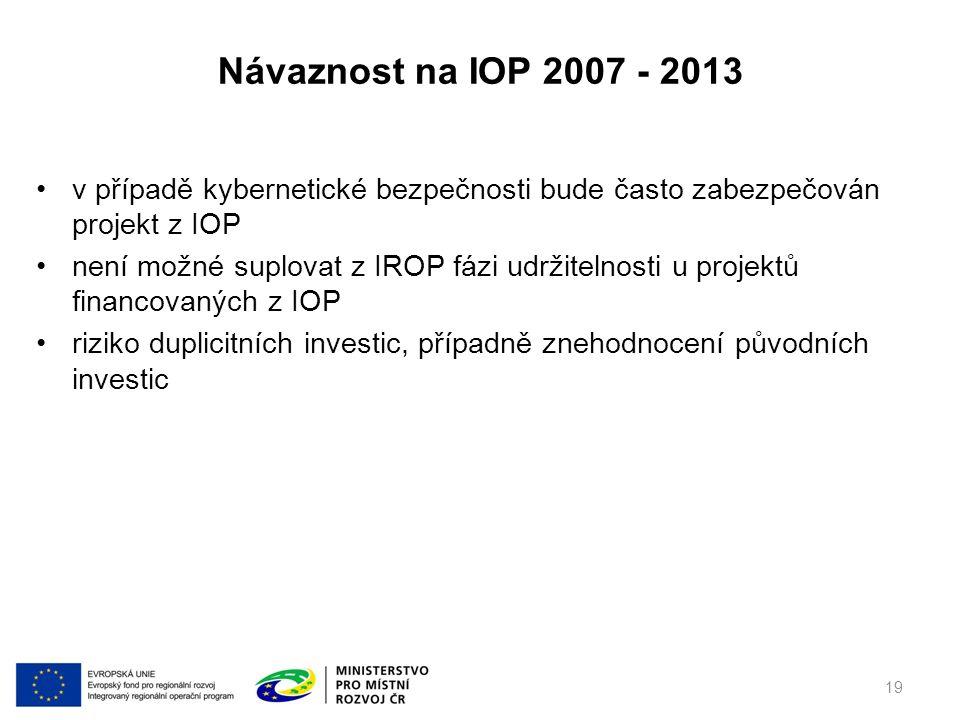 v případě kybernetické bezpečnosti bude často zabezpečován projekt z IOP není možné suplovat z IROP fázi udržitelnosti u projektů financovaných z IOP riziko duplicitních investic, případně znehodnocení původních investic Návaznost na IOP 2007 - 2013 19
