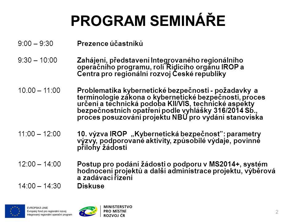 http://www.dotaceeu.cz/irop DĚKUJEME VÁM ZA POZORNOST V případě dotazů nás kontaktujte na irop@mmr.cz 43